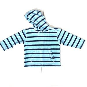 Mini Boden 5-6Y Striped Terry Hooded Sweatshirt
